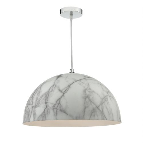 Magnus 1 Light Pendant Polished Chrome White Marble Effect (Class 2 Double Insulated) BXMAG012-17